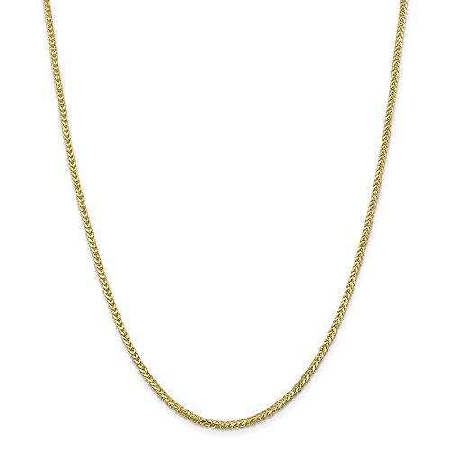 Diamond2deal 10K giallo oro 2.0mm franco catena collana moschettone 50,8cm
