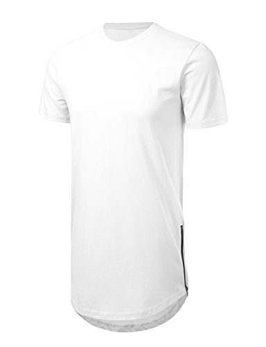 JD Apparel Men's Hipster Hip Hop T-Shirt with Side Zipper Trim XL White