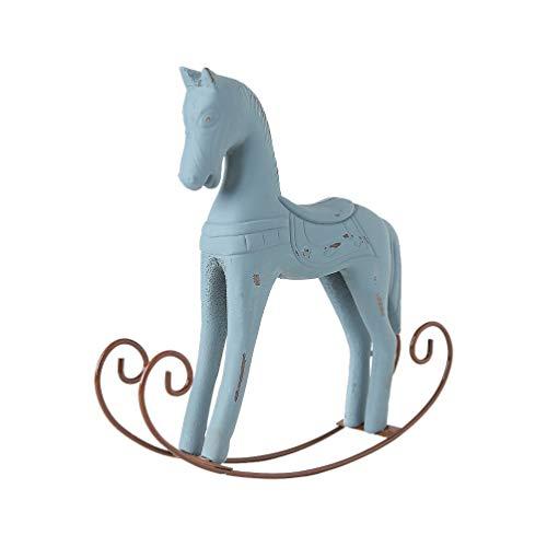 VOSAREA Piccolo Cavallo a Dondolo in Legno Desktop Cavallo figurina Cavallo da Tavolo Figura Animale Decorativo Cavallo Ornamento per Ufficio Camera da Letto Soggiorno Camera da Letto
