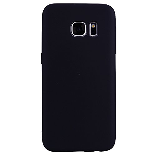 cuzz Custodia Samsung Galaxy S6 Edge+{Film di Vetro temperato}Silicone TPU Cover Morbida Protettiva Custodia Ultra Sottile Leggero Cover-Nero
