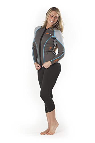 SUPreme Women's Catch 1.5mm Poly Hybrid Jacket, Light/Dark Gray, 4 - Standup Paddleboarding, Kayaking & Water Sports