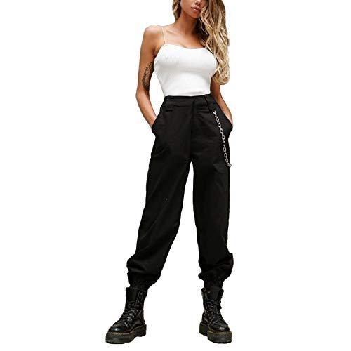 Damen Cargo Hosen Hip Hop Jogger Street Hose mit Kette Pants Jogginghose (Schwarz, M)