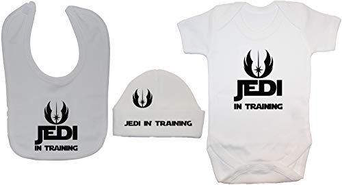 Acce Products Jedi in Training Body pour bébé Barboteuse et bonnet 0 à 12 mois - Blanc - 3-6 mois