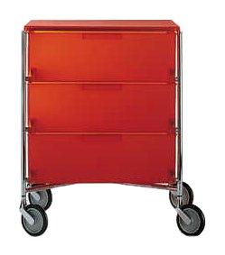 Kartell 2010L4 -  Mobiletto portaoggetti con rotelle a 3 ripiani Mobil, Colore: Arancio