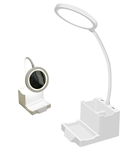 Led-bureaulamp, siliconen badkuiphalstabel USB-lamp 7W met make-up spiegel studiekantoor werk piano licht ingebouwde 1300 mAh batterij, wit