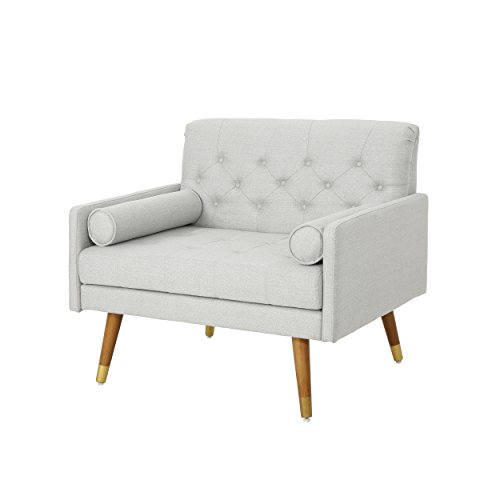 Christopher Knight Home Nour Fabric Mid-Century Modern Club Chair, Light Gray, Natural