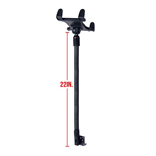Tackform Tablet Mount for Car and Truck [ELD Mount] Industrial 22 Inch Aluminum Rod Gooseneck Seat Rail Holder for Taxi, Van, Vehicle, Semi, etc. Supports iPad, Galaxy, Surface and More.