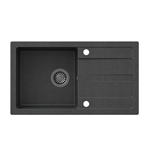 VBChome Spüle 77 x 44 cm Schwarz Granit Einzelbecken Einbauspüle Abtroffläche gesprenkelt reversibel Verbundspüle + Siphon Spülmittelspender