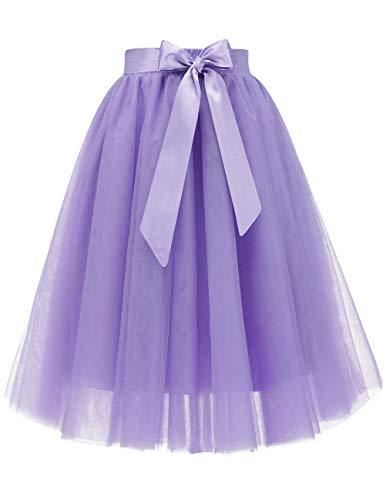 Tulle Skirt Tutu Skirt Knee Length Pleated Wedding Bridesmaid Sister Tutu Costume Lavender S
