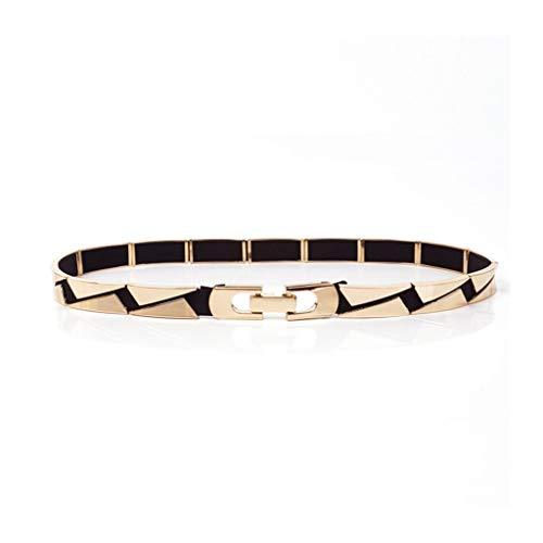 ZLDGYG ZMMDD Mujeres Elástica Espejo Metal Cintura Cinturón Cuero Metálico Bling Gold Placa Fina Cinturón Decoración
