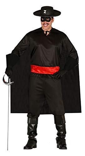 Fancy Me Herren Erwachsene Bandit Zorro TV Film Hero Bösewicht Spanisch Assasin Dieb Kostüm Kleid Outfit groß - Schwarz, Large