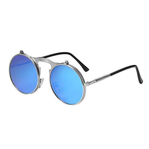 Aroncent Gafas de Sol Steampunk Mujer Polarizado Hombre Unisex Lentes Plateado de Espejo Plano Reflecto Marco Metal Armazon Fino Bloquea de 100% UVA UVB Protección de Ojos Antideslumbrante Retro