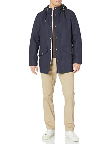 Mens Rubberized Rain Navy Blue Parka Jacket