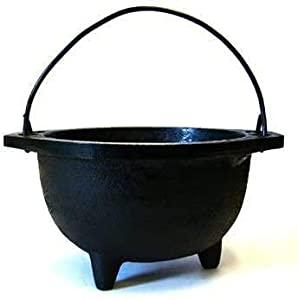 """Cast Iron Cauldron w/Handle, Ideal for smudging, Incense Burning, Ritual Purpose, Decoration, Candle Holder, etc. (3"""" Diameter Handle to Handle, Inside Diameter 2"""")"""