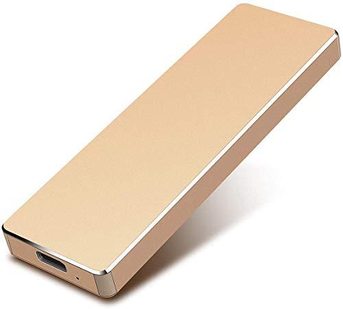 Disco duro externo - Disco duro externo portátil de 2 TB HDD USB 3.1 externo compatible con PC, Mac, ordenador de sobremesa, portátil (2 TB, dorado)