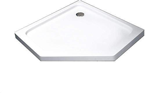 BuyLando.Shop [Typ-DT] Duschtasse Duschwanne Acrylwanne Sanitär-Acryl Brausewanne 5 cm flach Variation (100x100cm Fünf-Eck inkl. Ablauf)