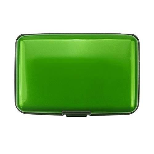 Appearancees - Tarjetero de identificación para tarjetas de crédito, caja de metal de aluminio, resistente al agua, con tarjetero, color verde