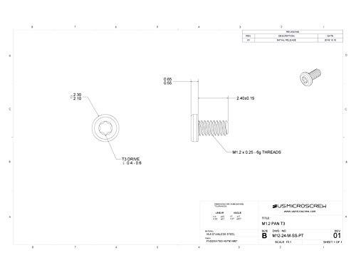 M1.2-0.25 X 2.4mm Machine Screw Stainless Steel Pan Head 6-Lobe Phillips Drive (100 Pcs) - M12-24-M-SS-PT
