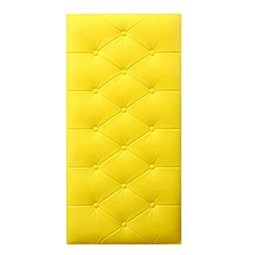 3D Wandpaneele Selbstklebende, Wasserdicht verdicken Anti-Kollisions-weiche Kissen-Tapete für Wohnzimmer Schlafzimmer TV Hintergrund Wanddekoration (10 Stück, 6 Farben),Gelb