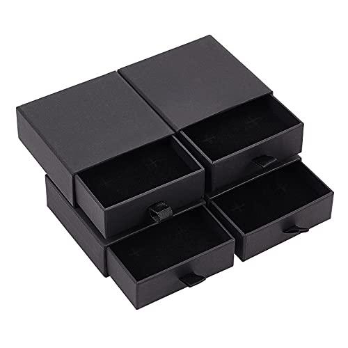 BENECREAT Paquete de 5 cajas de cajón de papel negro para regalo, cajas de regalo para joyas, 9,1 x 9,1 x 3,7 cm con esponja y cuerda de poliéster para pendientes, anillos, collares y pulseras