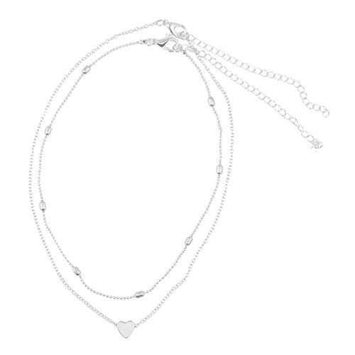 joyliveCY Collar de Mujer con Doble clavícula de corazón Simple Collar de Mujer con caída de Fase