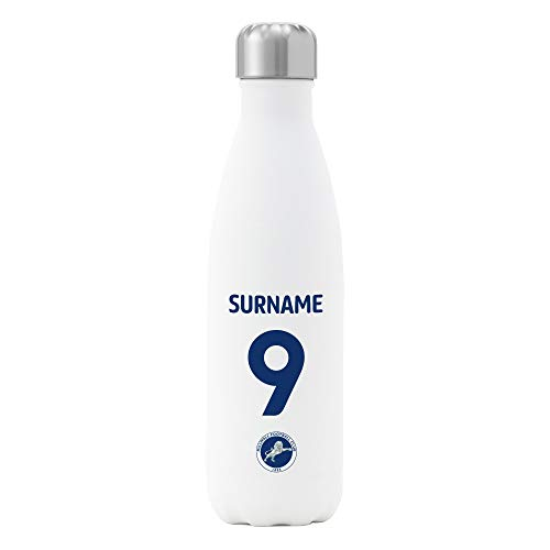 Official Personalised Millwall FC Back of Shirt Insulated Water Bottle - White