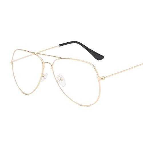 Gafas de Sol Sunglasses Gafas Clásicas Transparentes con Montura Dorada, Gafas Clásicas para Mujeres Y Hombres, Anteojos Ópticos De Aviador, Transparentes, Transparentes,