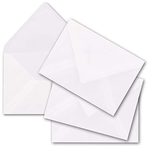50x transparente Brief-Umschläge DIN C6-11,4 x 16,2 cm - Nassklebung, Spitze Klappe - für DIN A6 - weiß durchsichtige Kuverts - Marke: Gustav NEUSER®