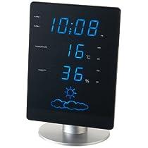 イデアIDEAデジタル電波置き時計 天気予報時計LEDウェザーステーション ブルー フラットLCR057-BL 02190469