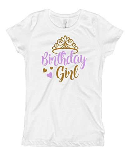 Blu Magnolia Co Girls Birthday Girl Shirt | Gold Princess Crown (Lavender, 14/16)