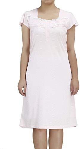 EZI Women's Short Sleeve Cotton-rich Lingerie Nightgown,XXL,Pink