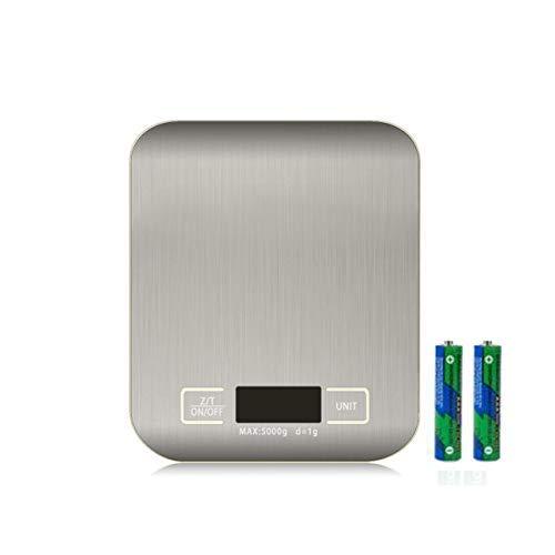 RKINC Digitale Küchenwaage, Lebensmittelwaage zum Backen, Einheit Gramm OZ lb Bis 11 lb (1g-5KG), Silber Edelstahl Anti-Fingerabdruck Genaues LCD-Display zum Kochen (inklusive AAA-Batterie)