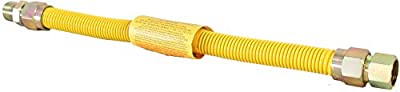 """Duratrac Yellow Coated Stainless Steel 3/4"""" MIP x 3/4"""" FIP x 18"""" Full Flow (1"""" OD) Gas Flex Connector"""