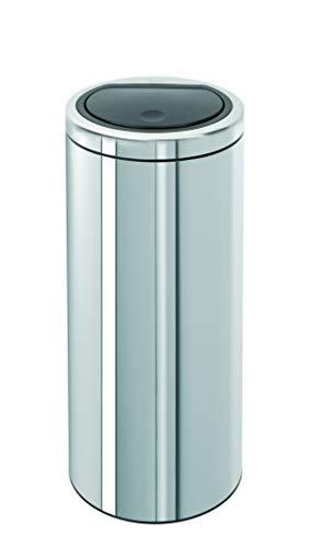 Brabantia Touch Bin 461903 Abfalleimer, mit Push-Deckel, Edelstahl, Einsatz aus Kunststoff, Flacher Deckel, 30 l