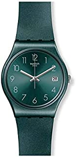 Swatch Silicone Green Dial Contrast Markers Unisex Round Analog Watch - Green