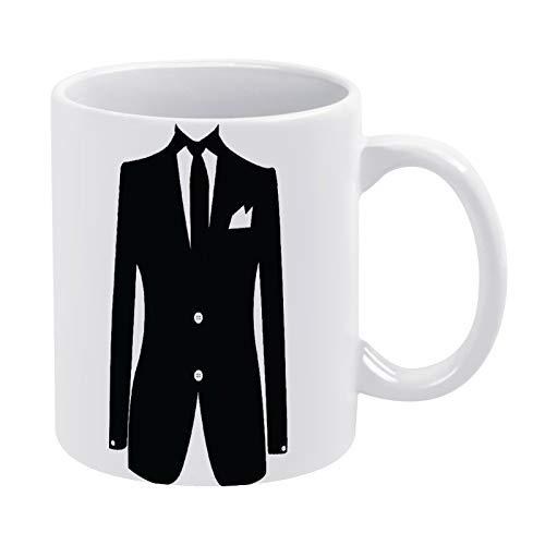 Taza de café negra con camisa para hombre, mujer, amiga, cumpleaños, 325 ml, color blanco