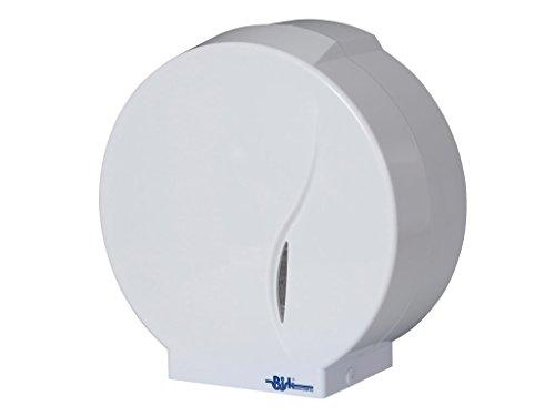 Bisk ABS Distributore di carta igienica Jumbo per rotolo 19 e 23 cm, Bianco