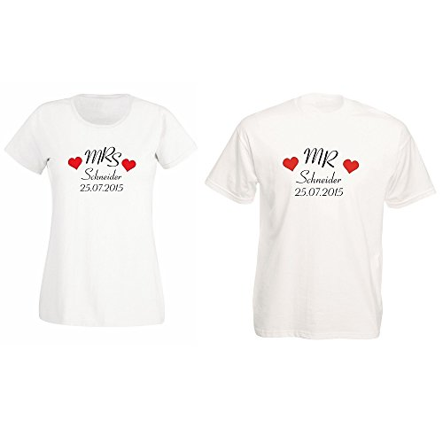 4you Design Mr. und Mrs. Partner T-Shirts mit Familiennamen und Hochzeitsdatum - Hochzeitsgeschenk