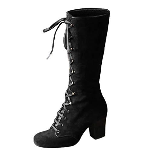 Allence Damen Winterstiefel Mittlere Stiefel Blockabsatz Stiefeletten Langschaft Mode PU Leder Schuhe Retro Niet Seitenreißverschluss Schnüren Boots