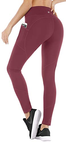 Ewedoos Yoga Pants with Pockets for Women High Waisted Leggings for Women Workout Leggings with Pockets Womens Leggings (Ew330 Maroon, Small)