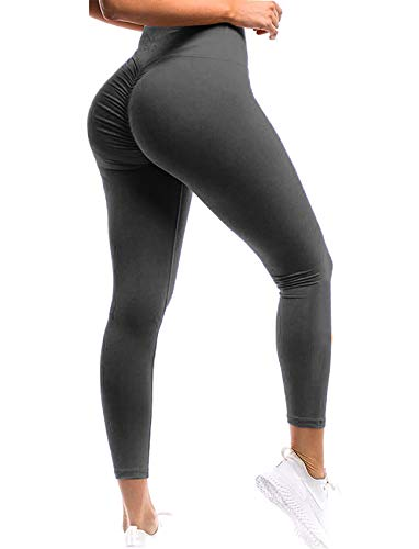 SEASUM Women Scrunch Butt Leggings High Waisted Ruched Yoga Pants Workout Butt Lifting S