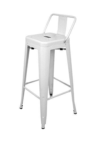 La Silla Española - Taburete estilo Tolix con respaldo. Color Blanco. Medidas 95x44,5x44,5