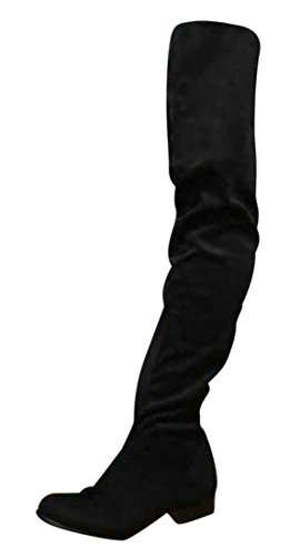 Erogance 3 cm Blockabsatz Stiefel Kunstwildleder Overknees Schwarz A3604 / EU 43