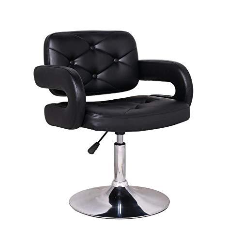 Silla de escritorio ajustable de piel sintética giratoria para el hogar, con respaldo de brazos, color negro