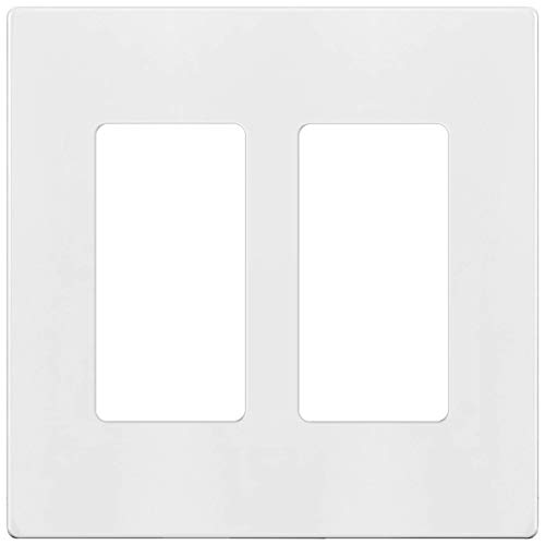 ENERLITES - SI8832-W-STICKER Screwless Decorator Wall Plates Child Safe Outlet Covers, Size 2-Gang 4.68