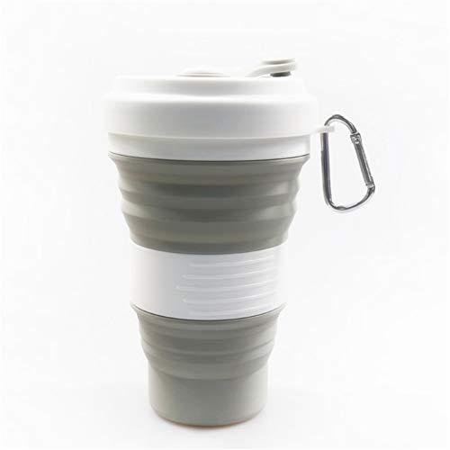 Song6 Strandzelt Faltbarer Reisebecher Multifunktions-Camping-Sportflasche aus Silikon mit erweiterbarem Deckel, Trinkbecher gegen Verbrühungen, tragbar Camping Zelt (Color : Gray)
