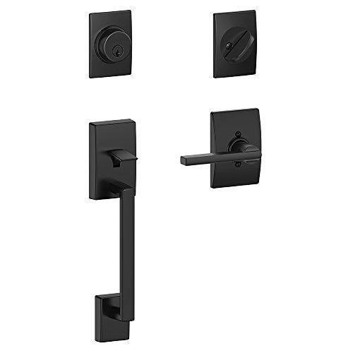 Schlage Lock Company Century Single Cylinder Handleset and Latitude Lever, Matte Black (F60 CEN 622 LAT CEN )