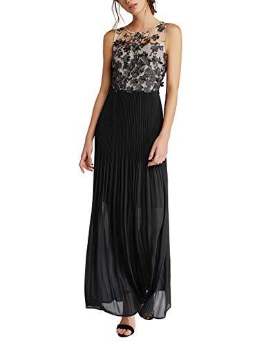 APART Damen Abendkleid mit transparentem Schulterbereich, schwarz-Champagner, 44