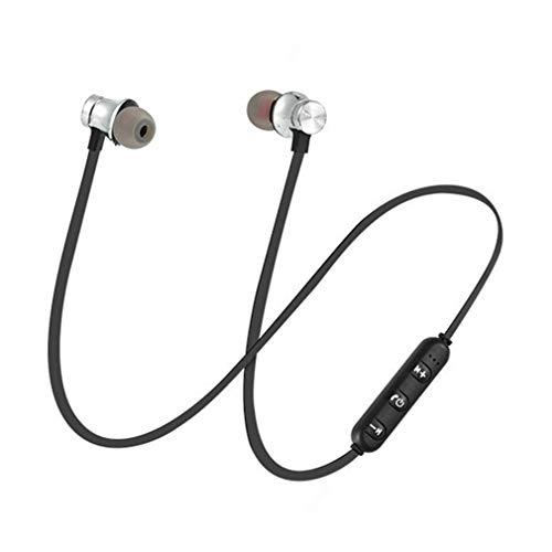 002 Oortelefoon met microfoon Sport Running Wireless Headset Neck Oorgedragen koptelefoon Zwart Zilver
