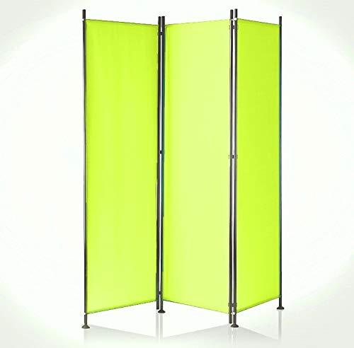 IMC Paravent 3-teilig hellgrün Raumteiler Trennwand Sichtschutz, faltbar/flexibel verstellbar, wetterfester Polyester-Stoff, Schwarze Metallstangen